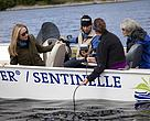 Meredith Brown, Alexandra Cousteau and other Ottawa Riverkeepers on the river.