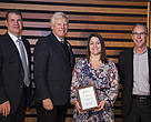 (L-R) Keith Major, Bentall Kennedy (Canada) LP, David Miller, President and CEO WWF-Canada, Melissa Jacobs, Bentall Kennedy, and Lloyd Brant, HP. Bentall Kennedy (Canada) LP received the Living Planet @ Work 2015 Company of the Year and Fundraiser of the Year Awards at WWF's APM.