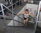 Shaun Stephens-Whale, 27, of Robert's Creek, B.C., crosses the finish line of WWF-Canada's CN Tower Climb for Nature on Sunday April 9, 2017. His time of 9 minutes and 54.9 seconds set a new  record for the annual climb.