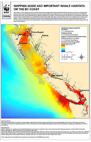 Shipping Noise and Important Whale Habitats on the BC Coast / ©: WWF-Canada