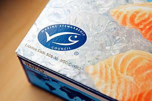 MSC certified sustainable seafood, here a package of frozen salmon.