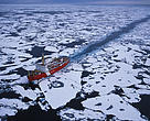 The Canadian icebreaker ship Louis St. Laurent, breaking through the sea ice of the Canada Basin, Beaufort Sea, Alaska, United States.